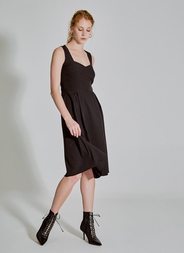 People By Fabrika Pilikaşe Detaylı Elbise Siyah